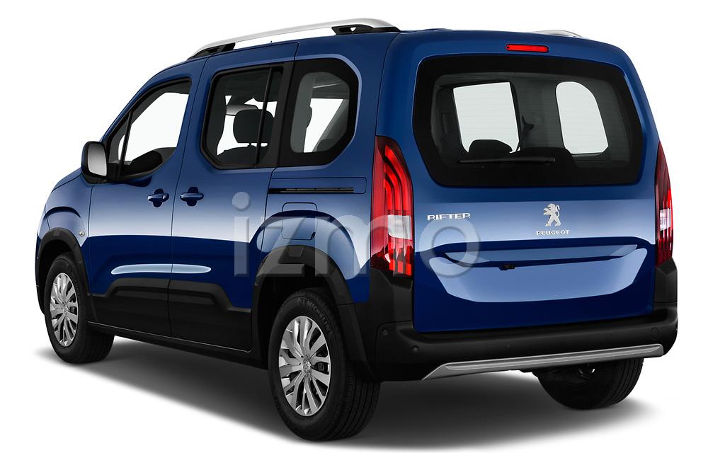 Car pictures of rear three quarter view of 2019 Peugeot Rifter Allure Door Mini Mpv Angular Rear
