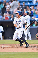 Asheville Tourists shortstop Ryan Vilade (4 ) swings at a pitch during a game against the Greensboro Grasshoppers at McCormick Field on May 11, 2018 in Asheville, North Carolina. The Tourists defeated the Grasshoppers 10-5. (Tony Farlow/Four Seam Images)