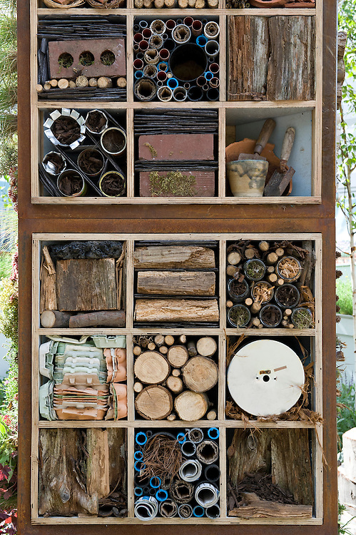 """Bug boxes or insect hotels. """"Future Nature"""" Garden, by Ark Design Management Ltd, RHS Chelsea Flower Show 2009."""
