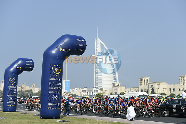 Km0 the start of Stage 3 The Silicon Oasis Stage of the Dubai Tour 2018 the Dubai Tour's 5th edition, running 180km from Skydive Dubai to Fujairah, Dubai, United Arab Emirates. 7th February 2018.<br /> Picture: LaPresse/Fabio Ferrari | Cyclefile<br /> <br /> <br /> All photos usage must carry mandatory copyright credit (© Cyclefile | LaPresse/Fabio Ferrari)
