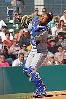 Salvador Perez #39 of the Wilmington Blue Rocks catching a foul ball  against the Myrtle Beach Pelicans on April 11, 2010  in Myrtle Beach, SC.
