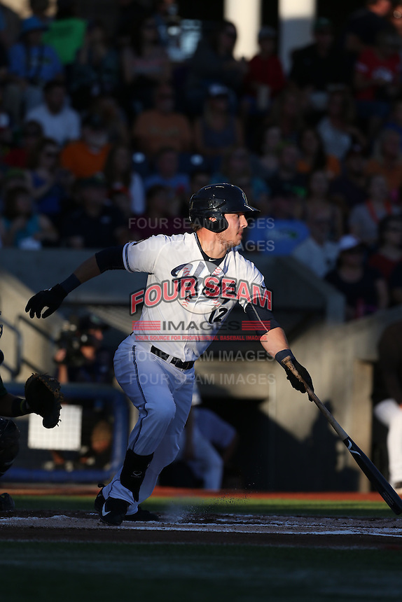 Grant Heyman (12) of the Hillsboro Hops bats during a game against the Boise Hawks at Ron Tonkin Field on August 21, 2015 in Hillsboro, Oregon. Boise defeated Hillsboro, 7-1. (Larry Goren/Four Seam Images)
