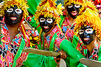 Colombian boys, wearing traditional masks, dance during the Carnival in Barranquilla, Colombia, 28 February 2006. The Carnival of Barranquilla is a unique festivity which takes place every year during February or March on the Caribbean coast of Colombia. A colourful mixture of the ancient African tribal dances and the Spanish music influence - cumbia, porro, mapale, puya, congo among others - hit for five days nearly all central streets of Barranquilla. Those traditions kept for centuries by Black African slaves have had the great impact on Colombian culture and Colombian society. In November 2003 the Carnival of Barranquilla was proclaimed as the Masterpiece of the Oral and Intangible Heritage of Humanity by UNESCO.
