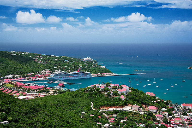 Boats harbor in Charlotte Amalle with cruise ship. St. Thomas. US Virgin Islands.