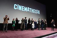 Sylvie PIALAT appelle l'equipe du film sur scene - Avant-Premiere du film LES GARDIENNES de Xavier Beauvois - La Cinematheque francaise - 1 decembre 2017 - Paris - France # AVANT-PREMIERE 'LES GARDIENNES' A PARIS
