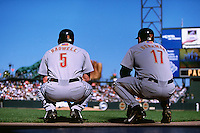 SAN FRANCISCO, CA - Jeff Bagwell and Lance Berkman of the Houston Astros wait in the on deck circle during a game against the San Francisco Giants at Pacific Bell Park in San Francisco, California in 2001. Photo by Brad Mangin