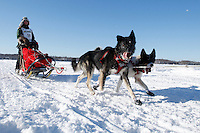 Anitra Winkler runs on the in-bound trail nearing the finish line of the 2009 Junior Iditarod in Willow, Alaska.   .March 1, 2009
