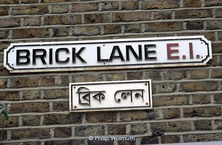 Bilingual street sign in Brick Lane, Bethnal Green, London