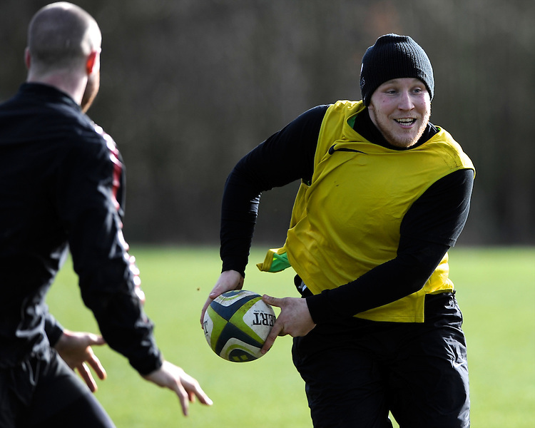 20130131 Copyright onEdition 2013©.Free for editorial use image, please credit: onEdition..Jackson Wray during the Saracens Captains Run at Old Albanians Rugby Club, St Albans on Thursday 31st January 2013 (Photo by Rob Munro)..For press contacts contact: Sam Feasey at brandRapport on M: +44 (0)7717 757114 E: SFeasey@brand-rapport.com..If you require a higher resolution image or you have any other onEdition photographic enquiries, please contact onEdition on 0845 900 2 900 or email info@onEdition.com.This image is copyright onEdition 2013©..This image has been supplied by onEdition and must be credited onEdition. The author is asserting his full Moral rights in relation to the publication of this image. Rights for onward transmission of any image or file is not granted or implied. Changing or deleting Copyright information is illegal as specified in the Copyright, Design and Patents Act 1988. If you are in any way unsure of your right to publish this image please contact onEdition on 0845 900 2 900 or email info@onEdition.com