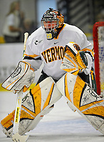 19 January 2008: University of Vermont Catamounts' goaltender Joe Fallon, a Senior from Bemidji, MN, warms up prior to starting against  Northeastern University Huskies at Gutterson Fieldhouse in Burlington, Vermont. The Catamounts defeated the Huskies 5-2 to close out their 2-game weekend series...Mandatory Photo Credit: Ed Wolfstein Photo