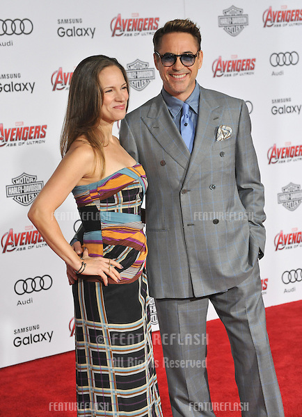 """Robert Downey Jr & Susan Downey at the world premiere of his movie """"Avengers: Age of Ultron"""" at the Dolby Theatre, Hollywood.<br /> April 13, 2015  Los Angeles, CA<br /> Picture: Paul Smith / Featureflash"""
