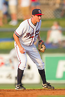 Second baseman Phil Gosselin #30 of the Rome Braves on defense against the Greenville Drive at State Mutual Stadium July 24, 2010, in Rome, Georgia.  Photo by Brian Westerholt / Four Seam Images