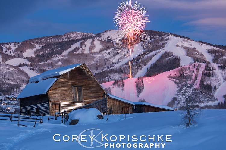 Valentines day fireworks and Torch light parade with the Steamboat barn and ski area.