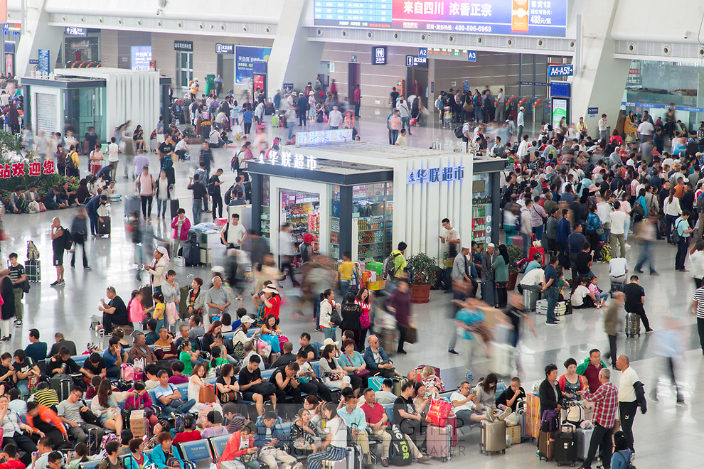 Crowds in Xining railway station, one of the main stops on the train journey that runs into Tibet and onto Lhasa.