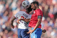 SANDY, UT - JUNE 10: Celso Borges #5 of Costa Rica with a head ball during a game between Costa Rica and USMNT at Rio Tinto Stadium on June 10, 2021 in Sandy, Utah.
