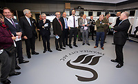 Pictured: Guests are being shown the changing room Tuesday 04 April 2017<br />Re: Official opening of the Fairwood Training Complex of Swansea City FC, Wales, UK