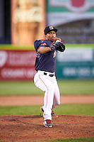 Portland Sea Dogs relief pitcher Williams Jerez (19) during a game against the Reading Fightin Phils on May 31, 2016 at Hadlock Field in Portland, Maine.  Reading defeated Portland 6-4.  (Mike Janes/Four Seam Images)