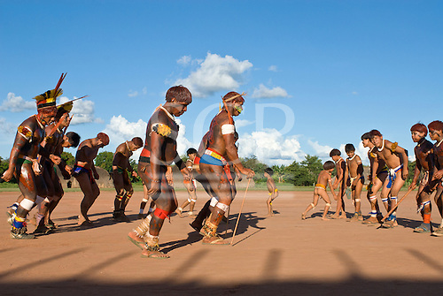 traditional dance by Xingu indians in the Amazone, Brazil