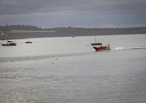 Skerries RNLI returning to station with the swimmers safely on board