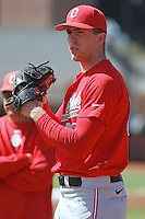 Ohio State Buckeyes pitcher Greg Greve #32 throwing in the bullpen before a game against the Coastal Carolina Chanticleers at Watson Stadium at Vrooman Field on March 11, 2012 in Conway, SC.  Coastal Carolina defeated Ohio State 3-2. (Robert Gurganus/Four Seam Images)