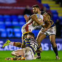 13th November 2020; The Halliwell Jones Stadium, Warrington, Cheshire, England; Betfred Rugby League Playoffs, Catalan Dragons versus Leeds Rhinos; David Mead of Catalans Dragons is tackled by James Donaldson of Leeds Rhinos