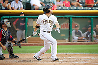 J.B. Shuck (3) of the Salt Lake Bees at bat against the Tacoma Rainiers in Pacific Coast League action at Smith's Ballpark on July 9, 2014 in Salt Lake City, Utah.  (Stephen Smith/Four Seam Images)