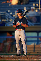 Lowell Spinners second baseman Chad De La Guerra (23) at bat during a game against the Batavia Muckdogs on August 12, 2015 at Dwyer Stadium in Batavia, New York.  Batavia defeated Lowell 6-4.  (Mike Janes/Four Seam Images)