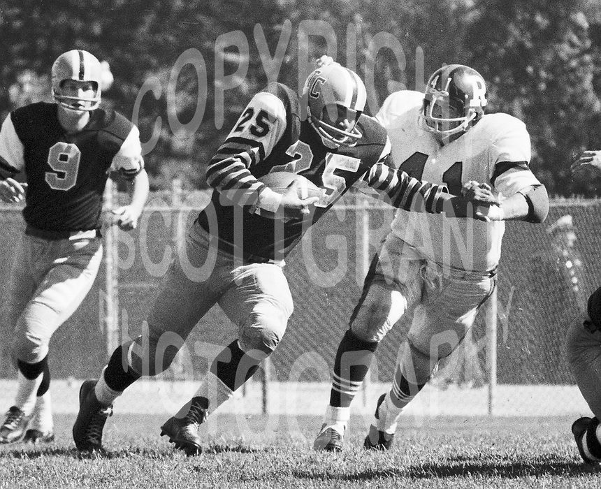 Art Baker Hamilton Tiger Cats and Ottawa Rough Rider Ken Lehmann 1965. Copyright photograph Ted Grant