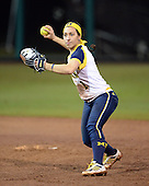 Michigan Wolverines Softball infielder Abby Ramirez (1) throws to first during a game against the University of South Florida Bulls on February 8, 2014 at the USF Softball Stadium in Tampa, Florida.  Michigan defeated USF 3-2.  (Copyright Mike Janes Photography)