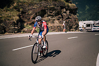Arnaud Démare (FRA/Groupama-FDJ) is the very last rider up the final climb of the day (in Spain!): the Col du Portillon (Cat1/1292m) , with more then 15 minutes behind the grupetto.<br /> He will finish more then 40 (!) minutes behind stage winner Alaphilippe<br /> <br /> Stage 16: Carcassonne > Bagnères-de-Luchon (218km)<br /> <br /> 105th Tour de France 2018<br /> ©kramon