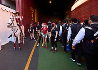 LOS ANGELES, CA - SEPTEMBER 11: Traveler, the USC horse greets the Stanford Cardinal as they arrive at the stadium before a game between University of Southern California and Stanford Football at Los Angeles Memorial Coliseum on September 11, 2021 in Los Angeles, California.