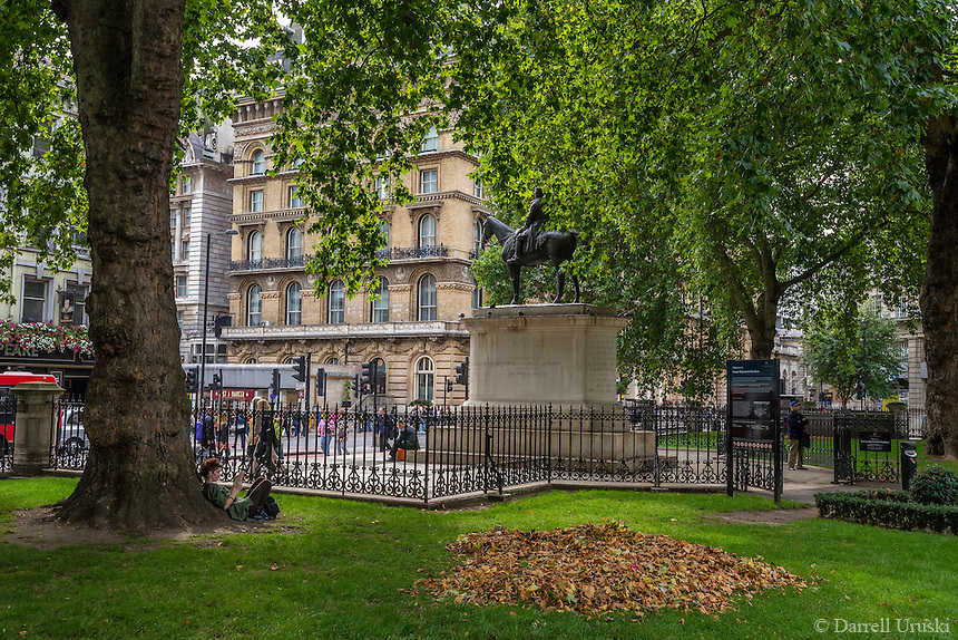 Scenic photograph of Grosvenor Gardens in London, England. <br />