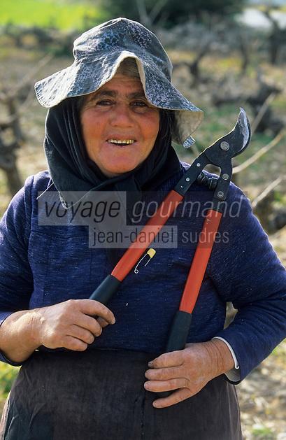 Europe/Chypre/Env de Peyia : Femme travaillant la vigne