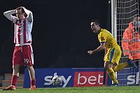 Sam Blackman of Concord Rangers FC scores the equaliser and celebrates during Stevenage vs Concord Rangers , Emirates FA Cup Football at the Lamex Stadium on 7th November 2020
