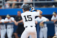Logan Harvey (15) of the Wake Forest Demon Deacons at bat against the Florida Gators in the completion of Game Two of the Gainesville Super Regional of the 2017 College World Series at Alfred McKethan Stadium at Perry Field on June 12, 2017 in Gainesville, Florida. The Demon Deacons walked off the Gators 8-6 in 11 innings. (Brian Westerholt/Four Seam Images)