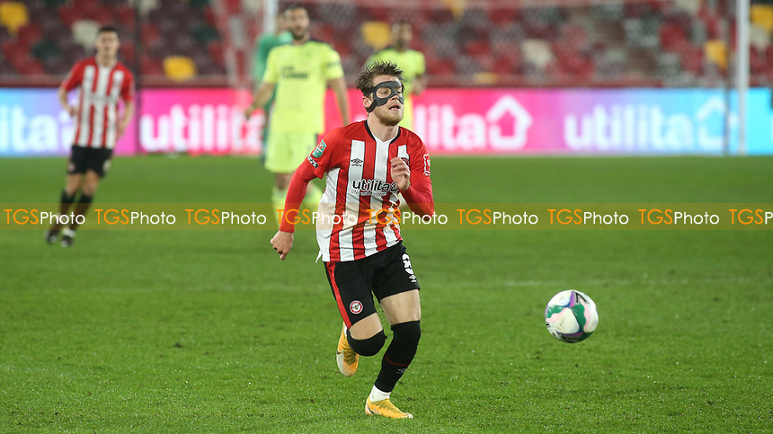 Mathias Jensen of Brentford races upfield during Brentford vs Newcastle United, Carabao Cup Football at the Brentford Community Stadium on 22nd December 2020