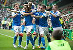 Celtic v St Johnstone …26.08.17… Celtic Park… SPFL<br />Steven MacLean celebrates his goal with David Wotherspoon, Liam Craig, Michael O'Halloran, Paul Paton and Brian Easton<br />Picture by Graeme Hart.<br />Copyright Perthshire Picture Agency<br />Tel: 01738 623350  Mobile: 07990 594431