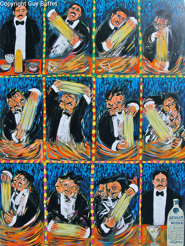 """""""Martini in Blue""""<br /> Limited Edition Serigraph Paper<br /> 34x25<br /> AP w/Original Watercolor Remarque<br /> APR Only Available $1,900<br /> Guy Buffet Signature """"Cinematique"""" storyboard style."""