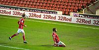 17th February 2021, Oakwell Stadium, Barnsley, Yorkshire, England; English Football League Championship Football, Barnsley FC versus Blackburn Rovers; Carlton Morris of Barnsley celebrates his opening goal for 1-0