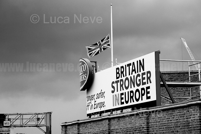 """A really sad day...<br /> <br /> London, March-July 2016. Reporting the EU Referendum 2016 (Campaign, result and outcomes) observed through the eyes (and the lenses) of an Italian freelance photojournalist (UK and IFJ Press Cards holder) based in the British Capital with no """"press accreditation"""" and no timetable of the main political parties' events in support of the RemaIN Campaign or the Leave the EU Campaign. <br /> On the 23rd of June 2016 the British people voted in the EU Referendum... (Please find the caption on PDF at the beginning of the Reportage).<br /> <br /> For more information about the result please click here: http://www.bbc.co.uk/news/politics/eu_referendum/results"""