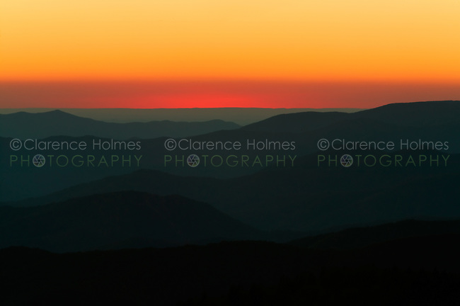 Glowing sky and layered mountains just after sunset viewed from Clingman's Dome, Great Smoky Mountains National Park, Tennessee