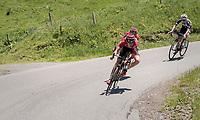 Tiesj Benoot (BEL/Lotto-Soudal) descending the Col de la Colombière<br /> <br /> 69th Critérium du Dauphiné 2017<br /> Stage 8: Albertville > Plateau de Solaison (115km)