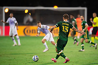 LAKE BUENA VISTA, FL - AUGUST 11: Dario Zuparic #13 of the Portland Timbers kicked the ball during a game between Orlando City SC and Portland Timbers at ESPN Wide World of Sports on August 11, 2020 in Lake Buena Vista, Florida.
