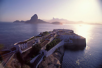 Santa Cruz fortress, ( Fortaleza de Santa Cruz da Barra ) in Niteroi city, entrance of Guanabara Bay -  Sugar Loaf and Rio de Janeiro mountains in the background, Brazil.