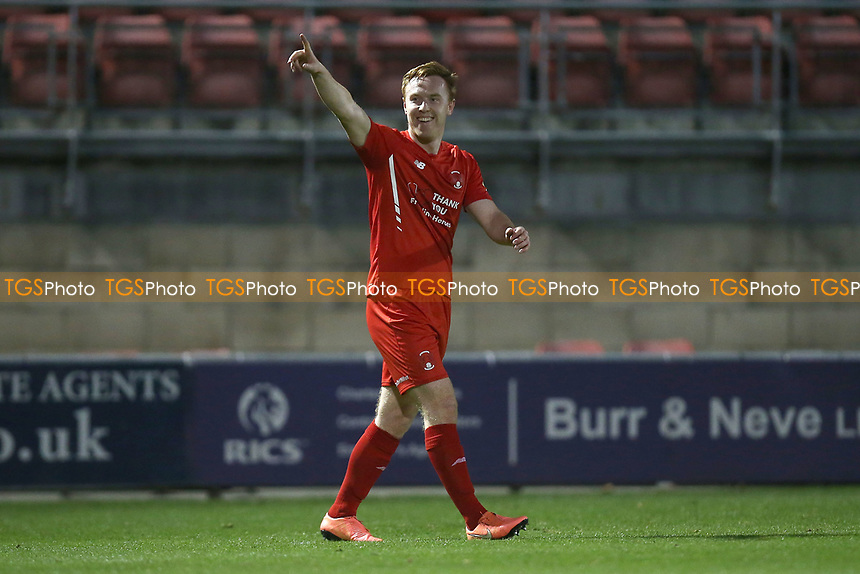 Danny Johnson of Leyton Orient celebrates his third goal to complete his hat-trick during Leyton Orient vs Harrogate Town, Sky Bet EFL League 2 Football at The Breyer Group Stadium on 21st November 2020
