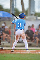 Robert Moore (3) during the WWBA World Championship at the Roger Dean Complex on October 10, 2019 in Jupiter, Florida.  Robert Moore attends Shawnee Mission East High School in Leawood, KS and is committed to Arkansas.  (Mike Janes/Four Seam Images)
