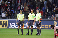 Das Schiedsrichtergespann Dirk Margenberg, Marc Seemann und Mark Borsch