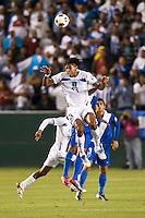 CARSON, CA – June 6, 2011: Honduran Carlo Costly (13) heads the ball during the match between Guatemala and Honduras at the Home Depot Center in Carson, California. Final score Guatemala 0, Honduras 0.