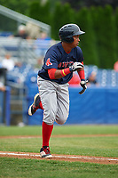 Lowell Spinners first baseman Juan Barriento (44) runs to first base on a single in the top of the second inning during a game against the Batavia Muckdogs on July 12, 2017 at Dwyer Stadium in Batavia, New York.  Batavia defeated Lowell 7-2.  (Mike Janes/Four Seam Images)