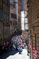 peloton roll-outat the race start in Siena<br /> <br /> 104th Giro d'Italia 2021 (2.UWT)<br /> Stage 12 from Siena to Bagno di Romagna (212km)<br /> <br /> ©kramon